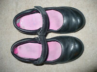 2x Girls Clarks Black School Shoes size 10H, good condition.