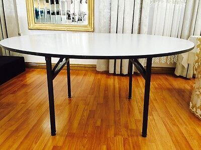 Lot Of 5 - 60 Round Wood Folding Banquet Table