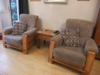 Two / pair lounge / conservatory chairs / armchairs