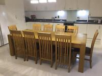 Oak John Lewis Dining table with 10 chairs