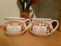 Two vintage looking soup mugs