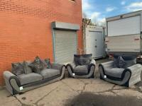 Beautiful grey & Black sofas 3/1/1 delivery 🚚 sofa suite couch furniture