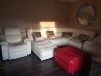 FULL LEATHER IVORY CORNER SOFA + 2 RECLINING CHAIRS + CHAISE + LARGE FOOTSTOOL