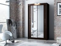 BRAND NEW!! UNIQUE DESIGN!! BERLIN Sliding Door German Wardrobe in White/Black/oak Colors for sale  Barnes, London