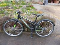 """Carrera abyss 26 bike bicycle from Halfords junior hybrid 13"""" alluminium frame 21 gears"""