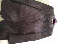 Mens brown pinstripe T M Lewin suit. 42L Jacket x 36L Trouser