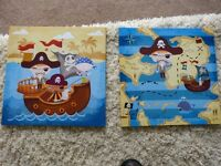 Kids Pirate Pictures ready to hang on wall (canvas on box frame) x 2