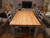 Beautiful Shabby Chic Large 6-8 Seater Solid Pine Dining Table and Chairs Set