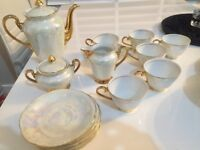 Luxury pearl and gold teapot,teacup and saucer, sugar pot and milk jug set