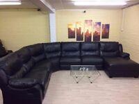 Huge Black Leather Corner Sofa