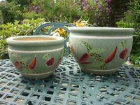 Two matching garden pots