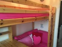 Single High Sleeper bed with futon and desk. Excellent condition less than 3 years old.