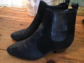 Leather cowboy style boots