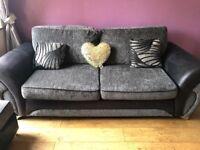 Grey/black dfs sofa 2 & 3 seaters.
