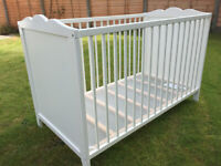 White IKEA HENSVIK COT Baby Nursery Furniture (123cmL x 66cmW) Dismantled In VGC