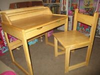 WOODEN CHILDS DESK AND CHAIR