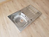 NEW - Polished Stainless Steel Single Bowl Kitchen Sink (Boxed)