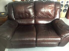 Brown Leather 2 seater reclining sofa.