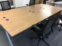 4 x Wooden Desks and 4 x Wooden Pedestals