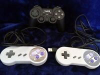 3 Retro Gaming USB Joypads 2 x SNES Super Nintendo & 1 x Logic3 10 button Rumble pad