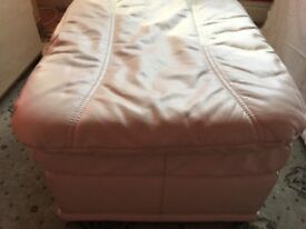 Cream Leather foot stool