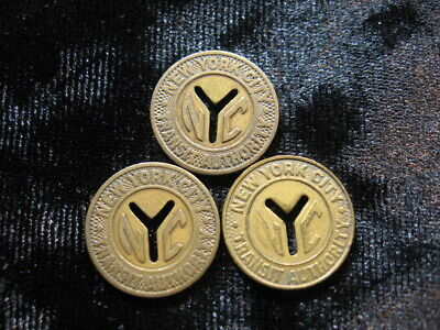 """3 old subway token coin lot NEW YORK CITY NYC """"small Y"""" 1953-1970 (353)"""