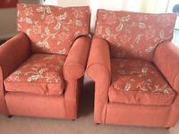 Sofa bed and two arm chairs