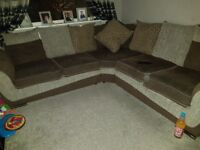 Large corner settee plus round circle chaie and puffy