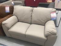 Milano 2 Seater Leather Sofa - Light Grey