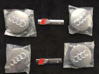 BARGAIN. AUDI ALLOY WHEEL CENTRE CAPS / S LINE WING BADGES only £10