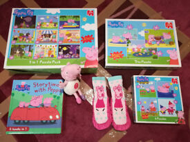Peppa Pig puzzles, book, toy and slipper socks