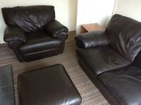 Leather 3 seater sofa, chair & pouffe