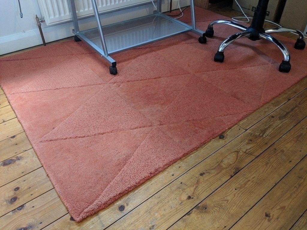 Wool Rug Orange Hand Woven L 1 7m W 2m Triangle