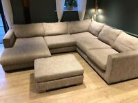 LARGE CORNER SOFA UNIT PLUS STORAGE FOOTSTOOL