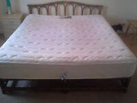 Double wooden bed + mattress