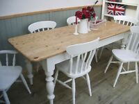 Stunning Vintage Pine Country Farmhouse 6½ft Table and Chair Set.
