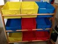 Canvas/wood storage unit