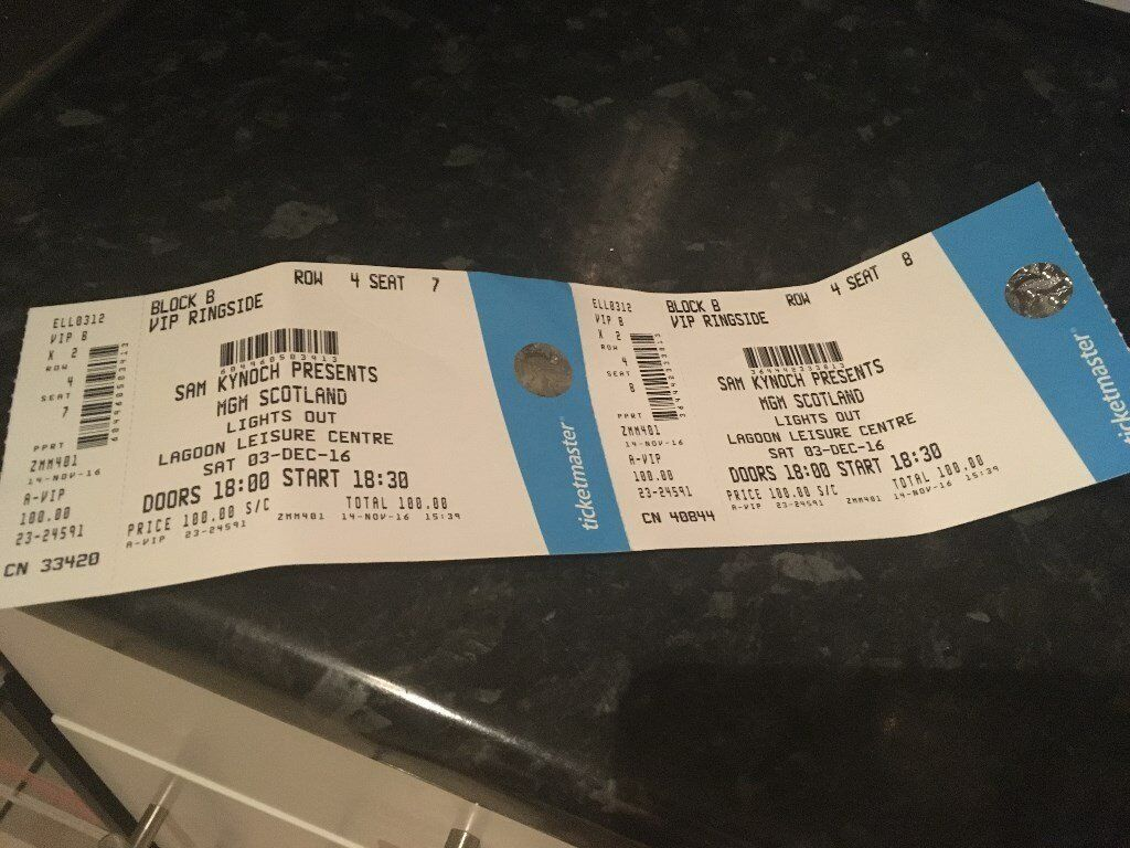 SOLD!!!!! VIP Ringside Tickets - Lights Out Boxing Event, Paisley - 3rd Dec