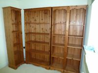 book shelves, stained pine.