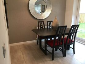 Quality built Scandinavian extendable black dining table sits 6-10 people with 4 high back chairs