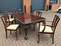 Superb Edwardian Mahogany extending dining table and six Chippendale Mahogany chairs.