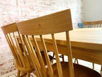 Dining Set Modern Rustic Large All Oak Chunky Farmhouse Table