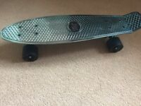 Blue metallic Two Bare Feet Skateboard