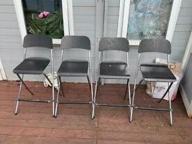 4 black ikea Franklin bar stool foldable chair