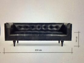 Stunning 3 seater Made-Com Connor Black Leather Sofa New rrp£899 Free Collection Datchet