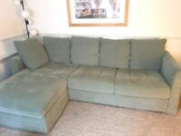 Lovely ikea mint green corner sofa with storage