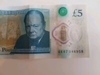 Polymer £5 note. **Very RARE*** AK47 number