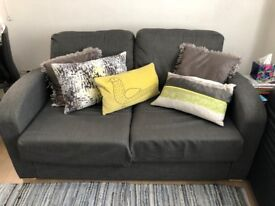 LIGHT GREY 2-SEATER SOFA BED - CUTE & IDEAL FOR A SMALL APARTMENT