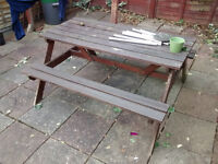 Wooden Picnic Table / Garden Bench - URGENT