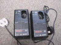 2 x Bosch Battery CHARGERS AL60 DV 7.2 v - 12v 1.4 amp used
